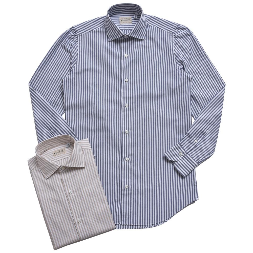 Finamore(フィナモレ)LUIGI SP/ルイジ ニューヴィンテージ/JAMESジェームス コットンピンオックスロンドンストライプレギュラーカラーシャツ 012295 11071008039