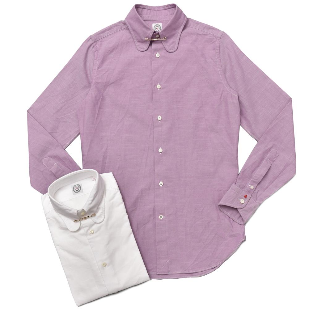 BOLZONELLA(ボルゾネッラ)ウォッシュドオックスフォードラウンドカラーシャツ(カラークリップ付き) C4050 11072000025