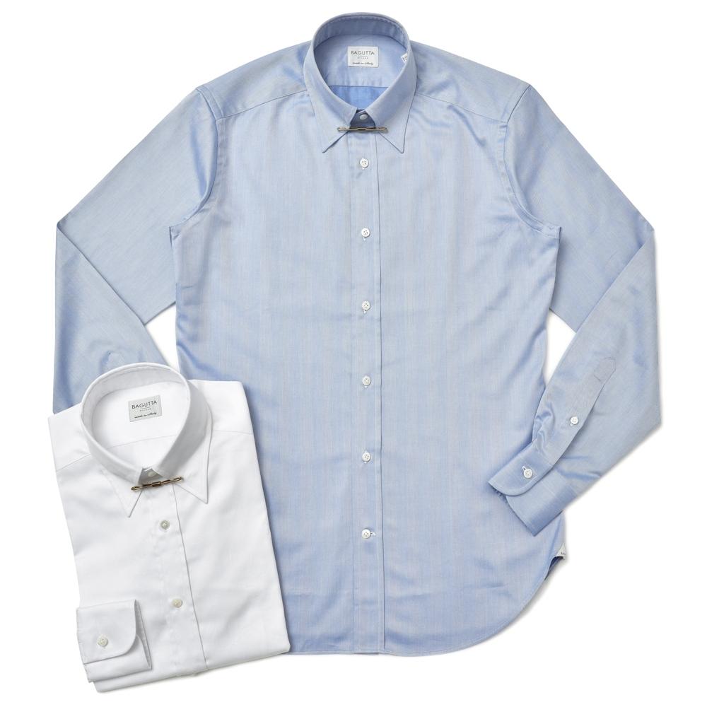 【SALE40】Bagutta(バグッタ)コットンヘリンボーンレギュラーカラーシャツ(カラークリップ付き) G393L/06940 11172200054