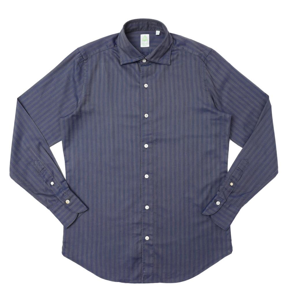 Finamore(フィナモレ)LUIGIルイジ/TOKYOトーキョー コットンヘリンボーンソラーロワイドカラーシャツ 840327 11072022039