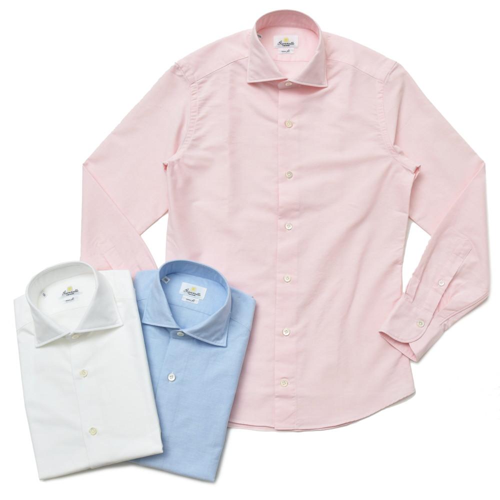 Giannetto(ジャンネット)ウォッシュドコットンオックスセミワイドカラーシャツ VINCH FIT/8G14630V81 41081001109