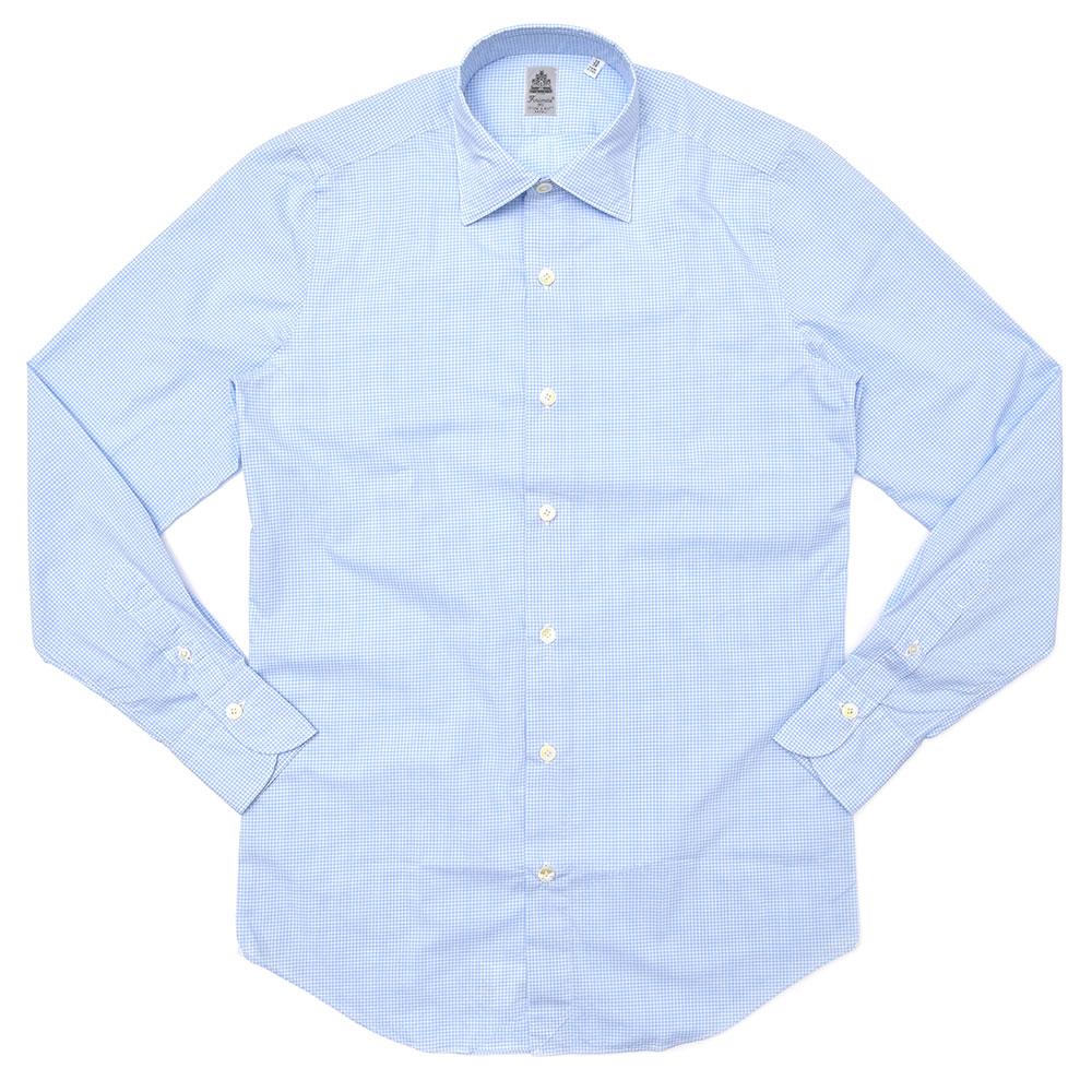 Finamore(フィナモレ)VITTORIOヴィットリオ/SEATTLEシアトル ウォッシュドコットンピンオックスギンガムチェックセミワイドカラーシャツ 040024 11081203039