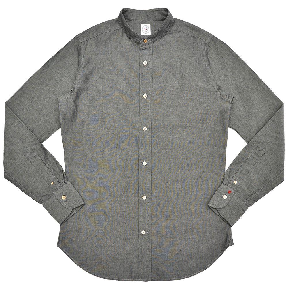BOLZONELLA(ボルゾネッラ)ウォッシュドコットンシャンブレーソリッドバンドカラーシャツ D4005 11081002025