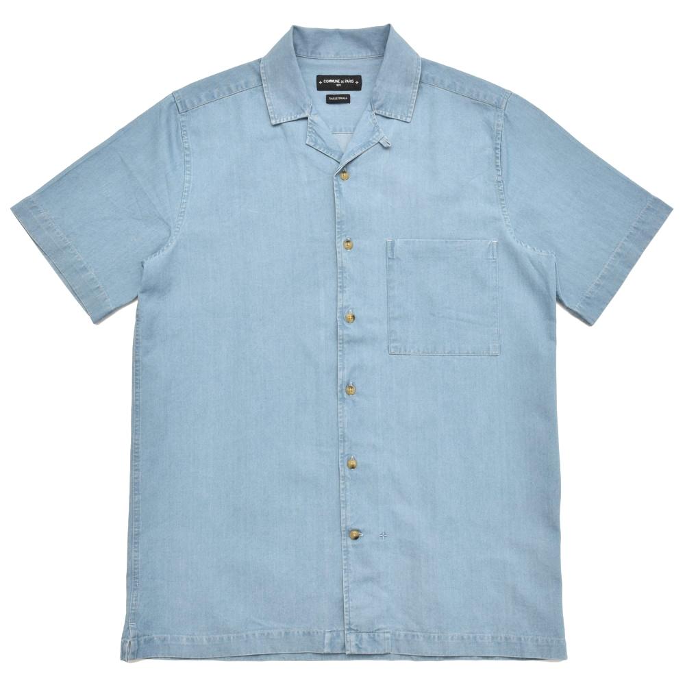 COMMUNE DE PARIS(コミューンドゥパリ)ウォッシュドコットンシャンブレーオープンカラーS/Sシャツ HILO-D 11081401025