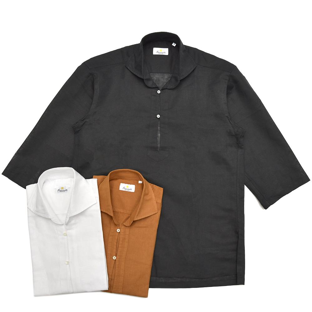Giannetto(ジャンネット)リネンコットンソリッドカプリシャツ 8G831SUM84 11081009109