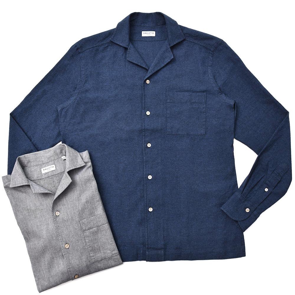 Bagutta(バグッタ)ウォッシュドコットンフランネルソリッドオープンカラーシャツ ALOHAK/08276 11082002054