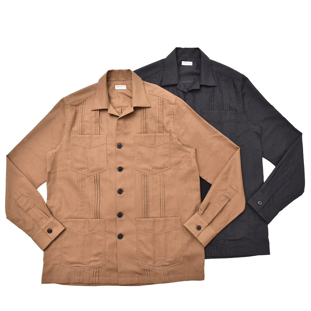 Bagutta(バグッタ)ウォッシュドコットンウールフランネルソリッドキューバシャツ CUBAK/08269 11082003054