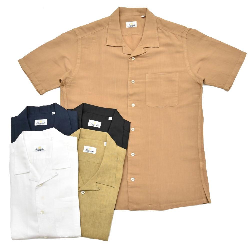 Giannetto(ジャンネット)ウォッシュドリネンコットンオープンカラーS/Sシャツ BOWLING/8G831BOWMM 41081010109