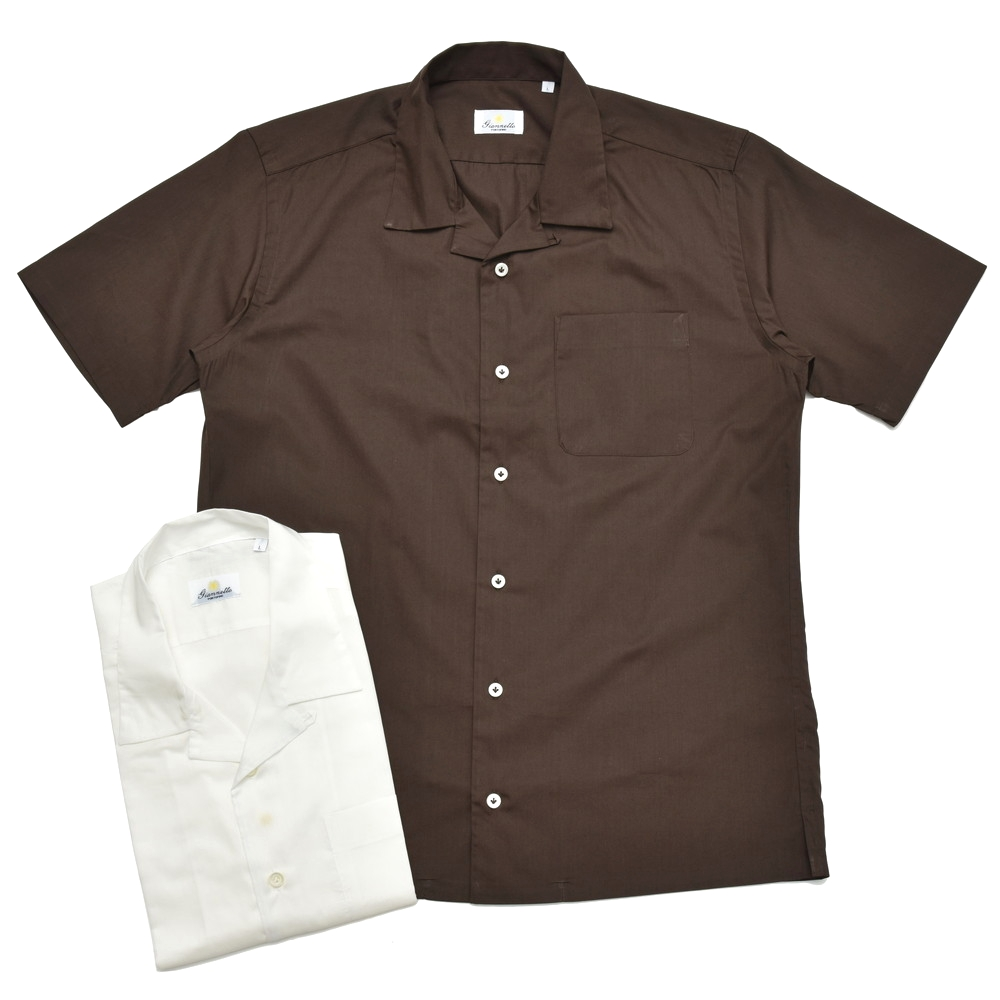 Giannetto(ジャンネット)ウォッシュドコットンポプリンソリッドオープンカラーS/Sシャツ BOWLING/8G103BOWMM 41081012109