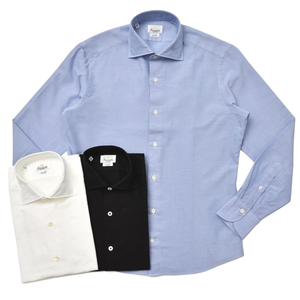Giannetto(ジャンネット)ウォッシュドコットンピンオックスセミワイドカラーシャツ VINCI FIT/9G14430V81 41082001109