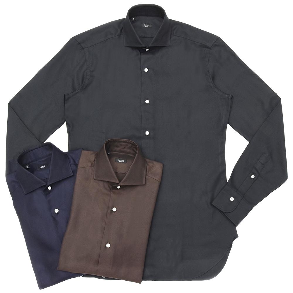 BARBA(バルバ)406 コットンピンオックスソリッドワイドカラーシャツ I1U662558307U 11182212022