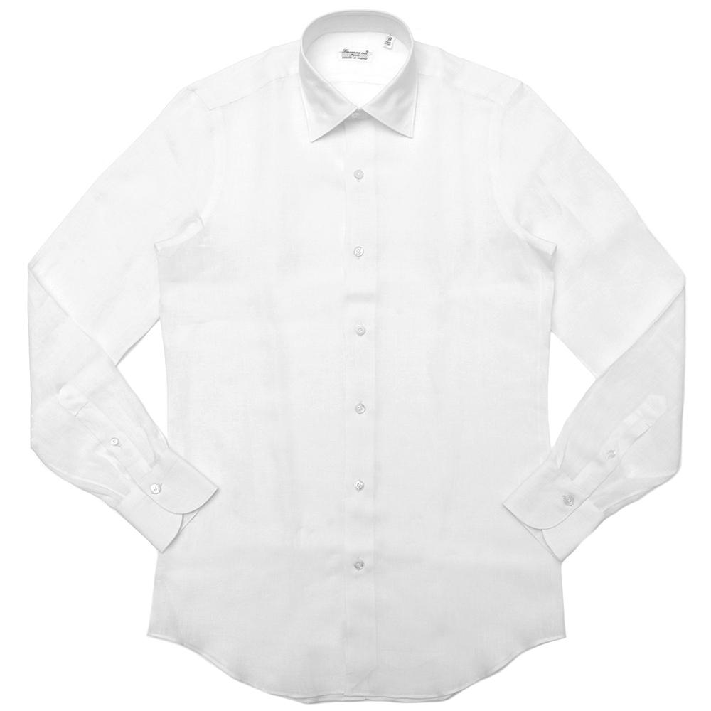 Finamore(フィナモレ)VITTORIOヴィットリオ/MILANOミラノ リネンソリッドセミワイドカラーシャツ P9001 11191200039