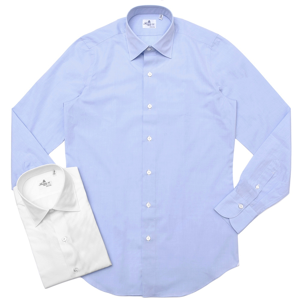 Finamore(フィナモレ)VITTORIOヴィットリオ/MILANOミラノ コットンブロードソリッドセミワイトカラーシャツ P9078 11191201039
