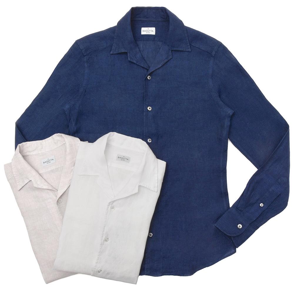 Bagutta(バグッタ)ウォッシュドリネンソリッドオープンカラーシャツ JOHNNY GL/CN0045 11091001054