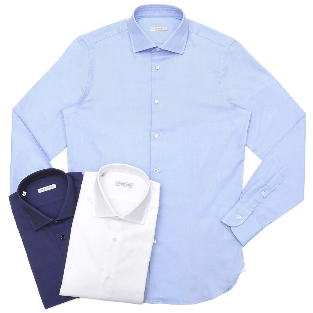 GUY ROVER(ギ ローバー)コットンピンオックスソリッドワイドカラーシャツ W2530/591103 11191206027