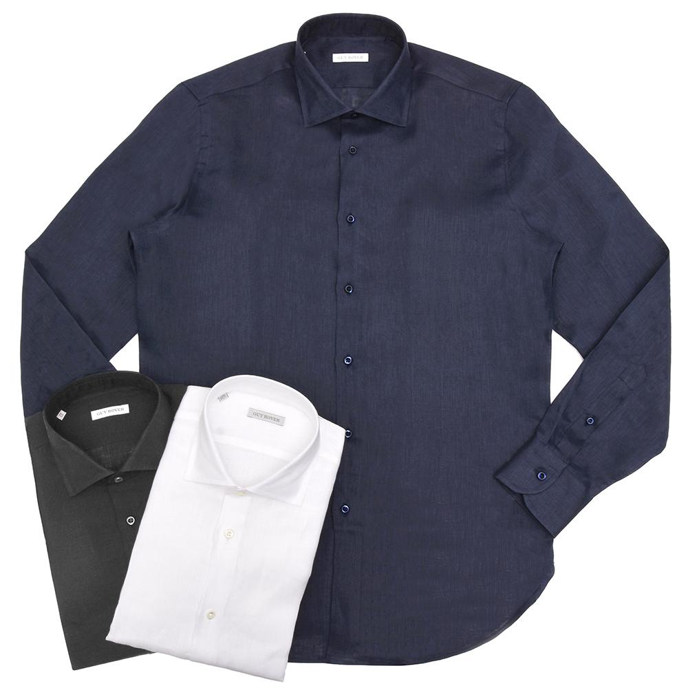 GUY ROVER(ギ ローバー)リネンソリッドワイドカラーシャツ W2530/591300 11191209027