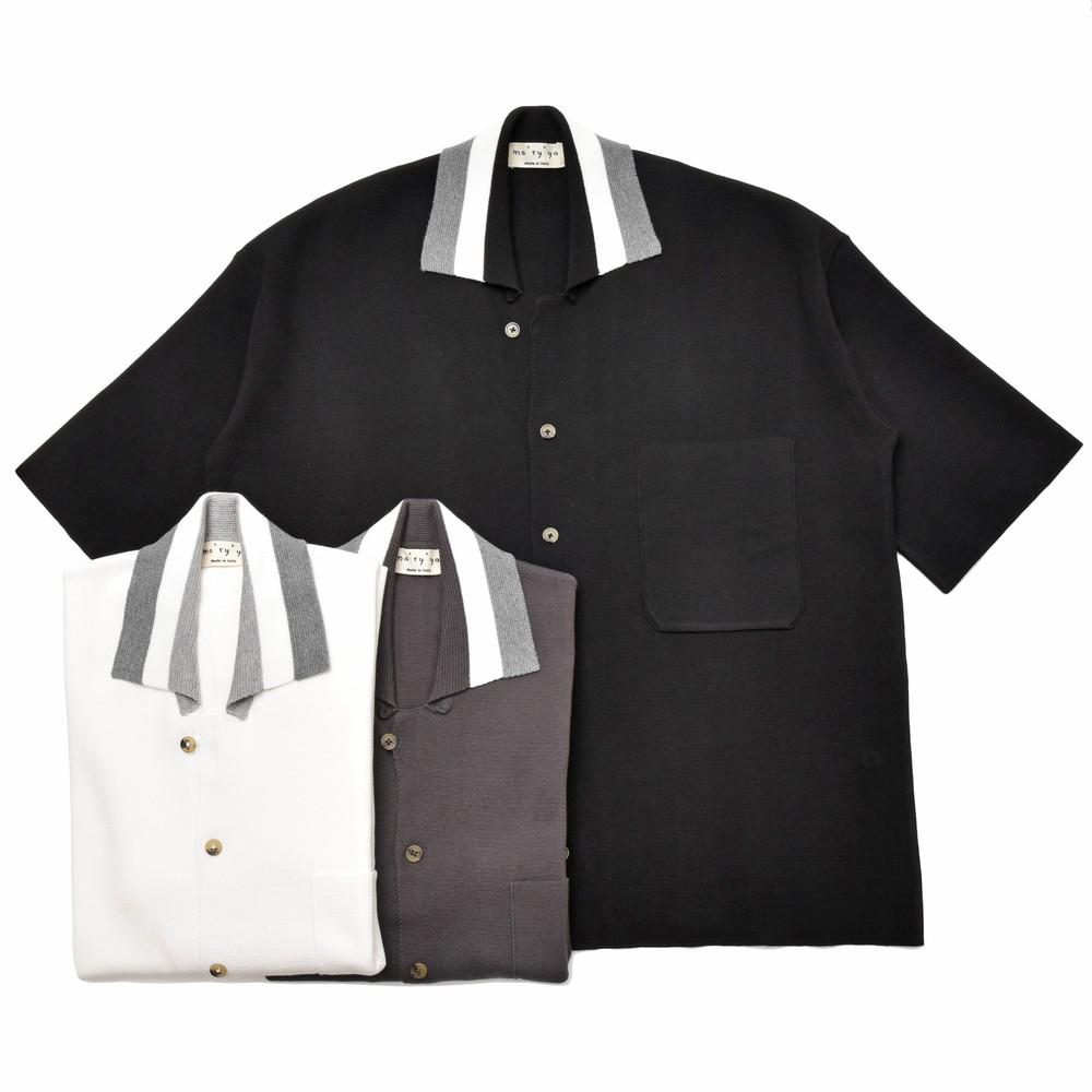 【SALE30】ma'ry'ya(マリア)コットンミラノリブオープンカラーS/Sニットシャツ YAK004 16091402025