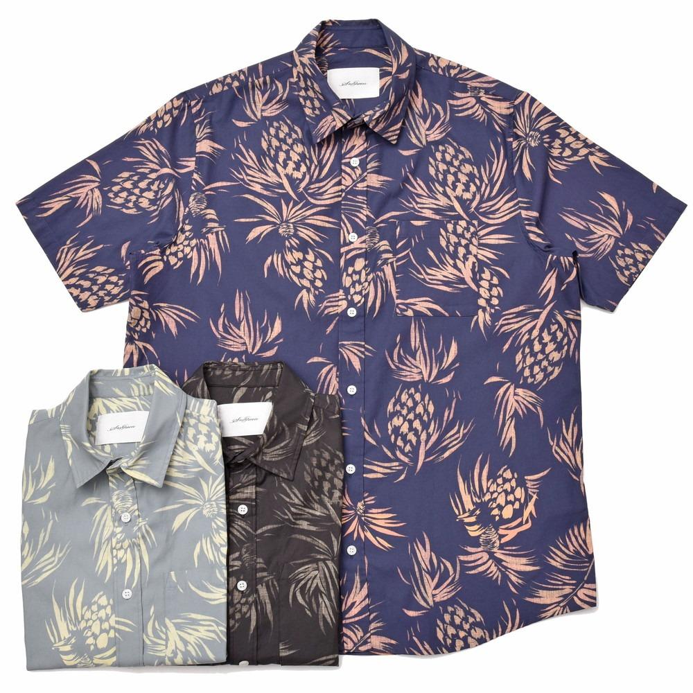 【SALE30】SeaGreen(シーグリーン)コットンボタニカルレギュラーカラーS/Sシャツ MSG19S765 11091400043