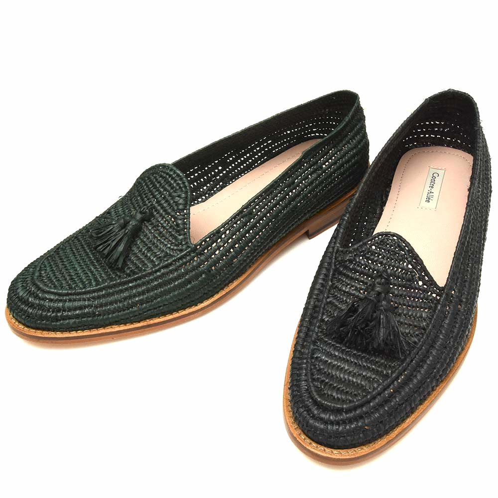 【SALE30】Contre Allee(コントレ アリー)ラフィアタッセルスリッポン Souliers BACHKO 15091000146