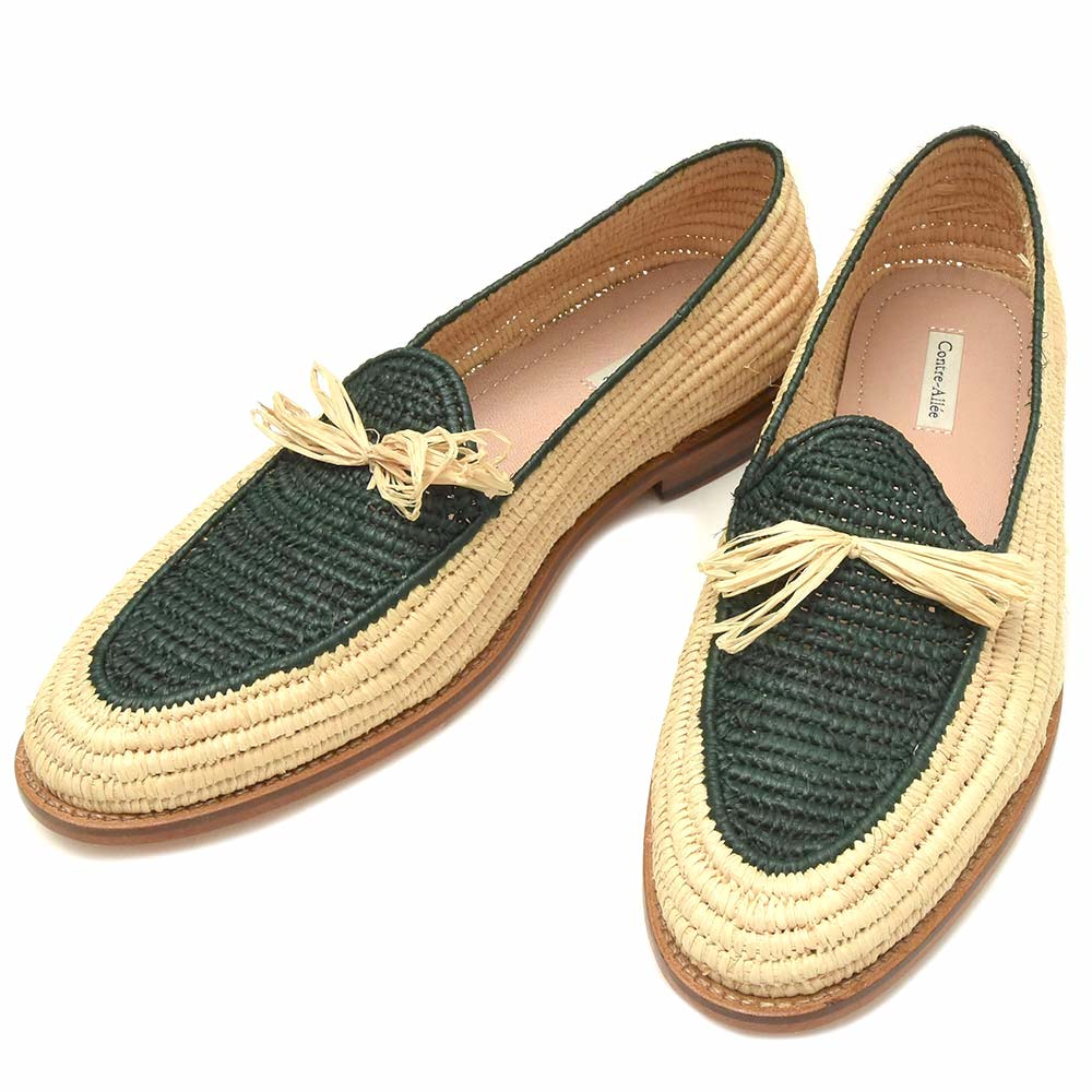 【SALE30】Contre Allee(コントレ アリー)バイカラーラフィアタッセルスリッポン Souliers BERNOUSSI 15091001146