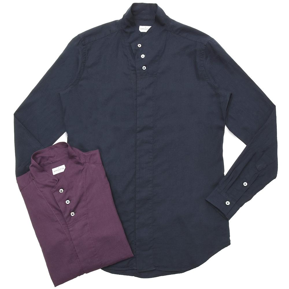 【SALE30】Bagutta(バグッタ)コットンライトフランネルソリッドハイネックシャツ NECK GBL/08480 11092000054