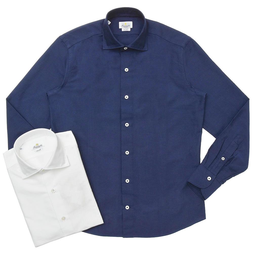 Giannetto(ジャンネット)コットンオックスフォードソリッドセミワイドカラーシャツ VINCI FIT/92031146300V81 11092001109