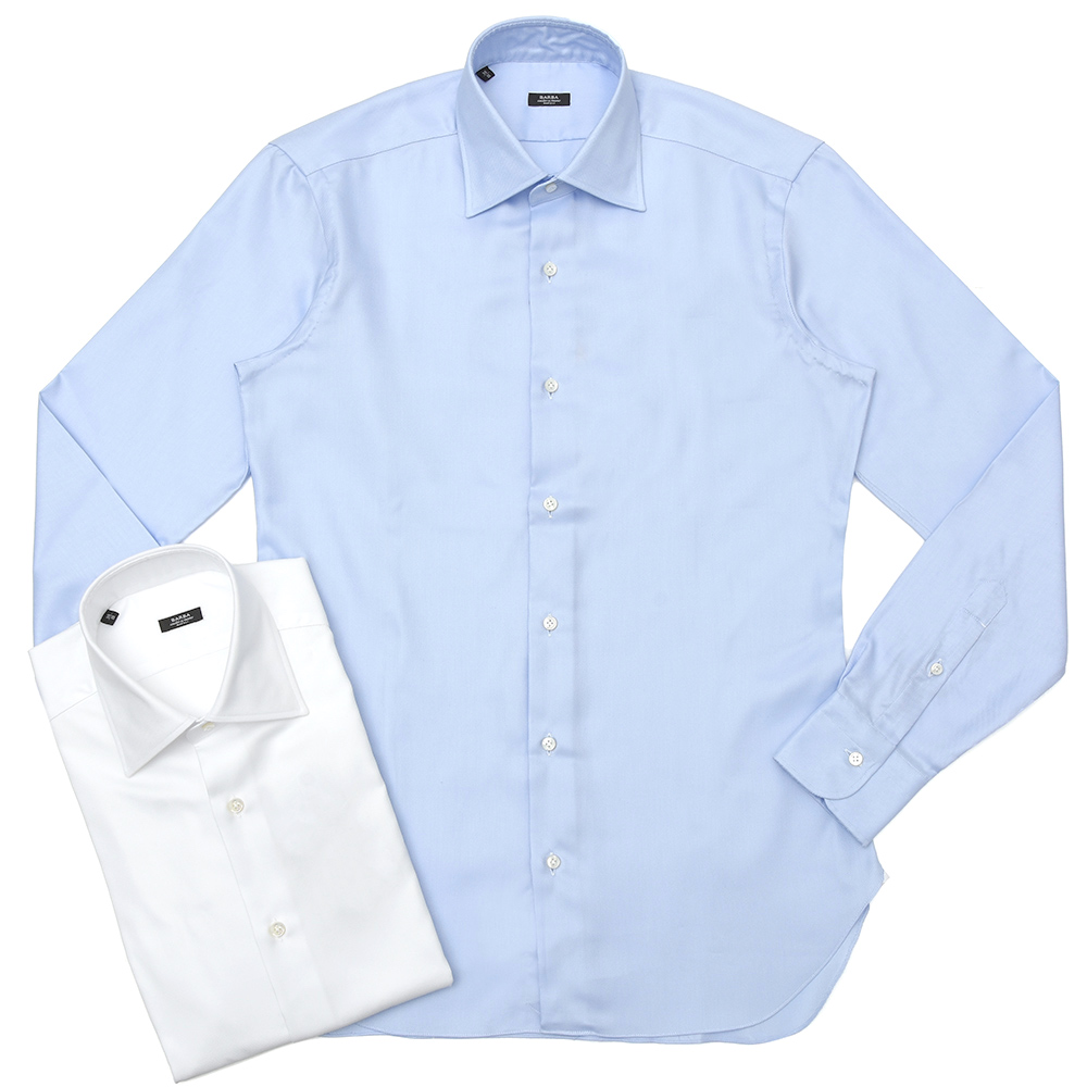 BARBA(バルバ)301 コットンピンオックスソリッドセミワイドカラーシャツ I/15903/U 11192206022