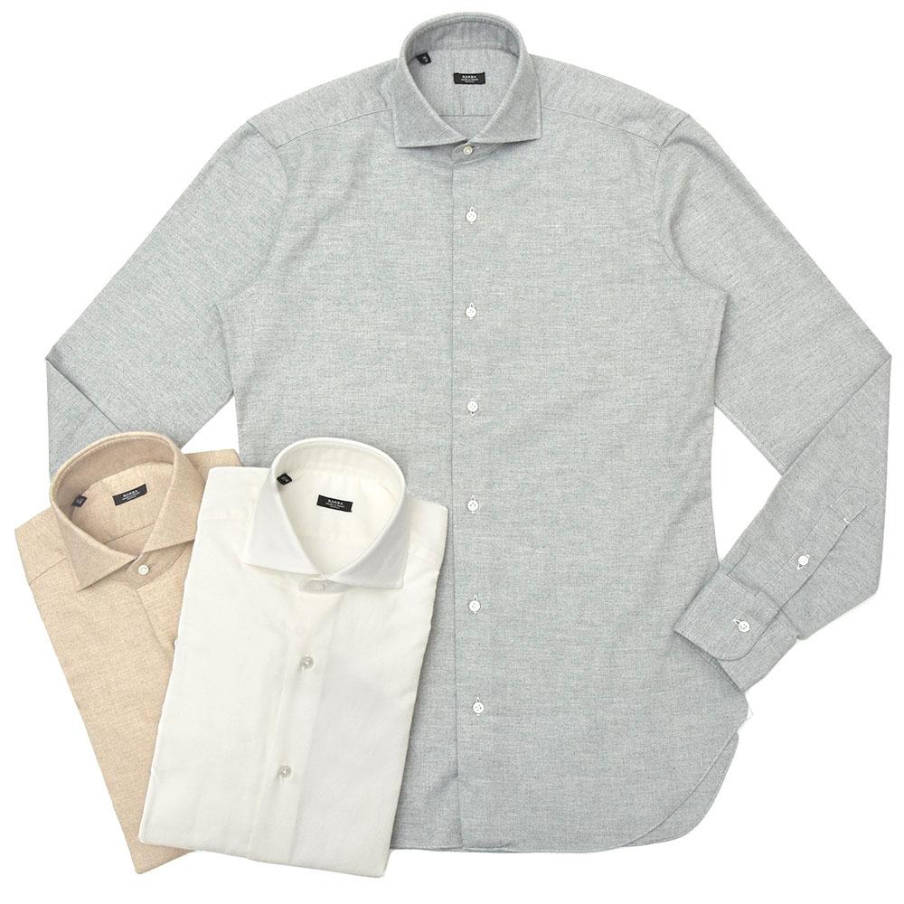 BARBA(バルバ)406 コットンカシミアライトネルソリッドワイドカラーシャツ I/6002/U 11192208022