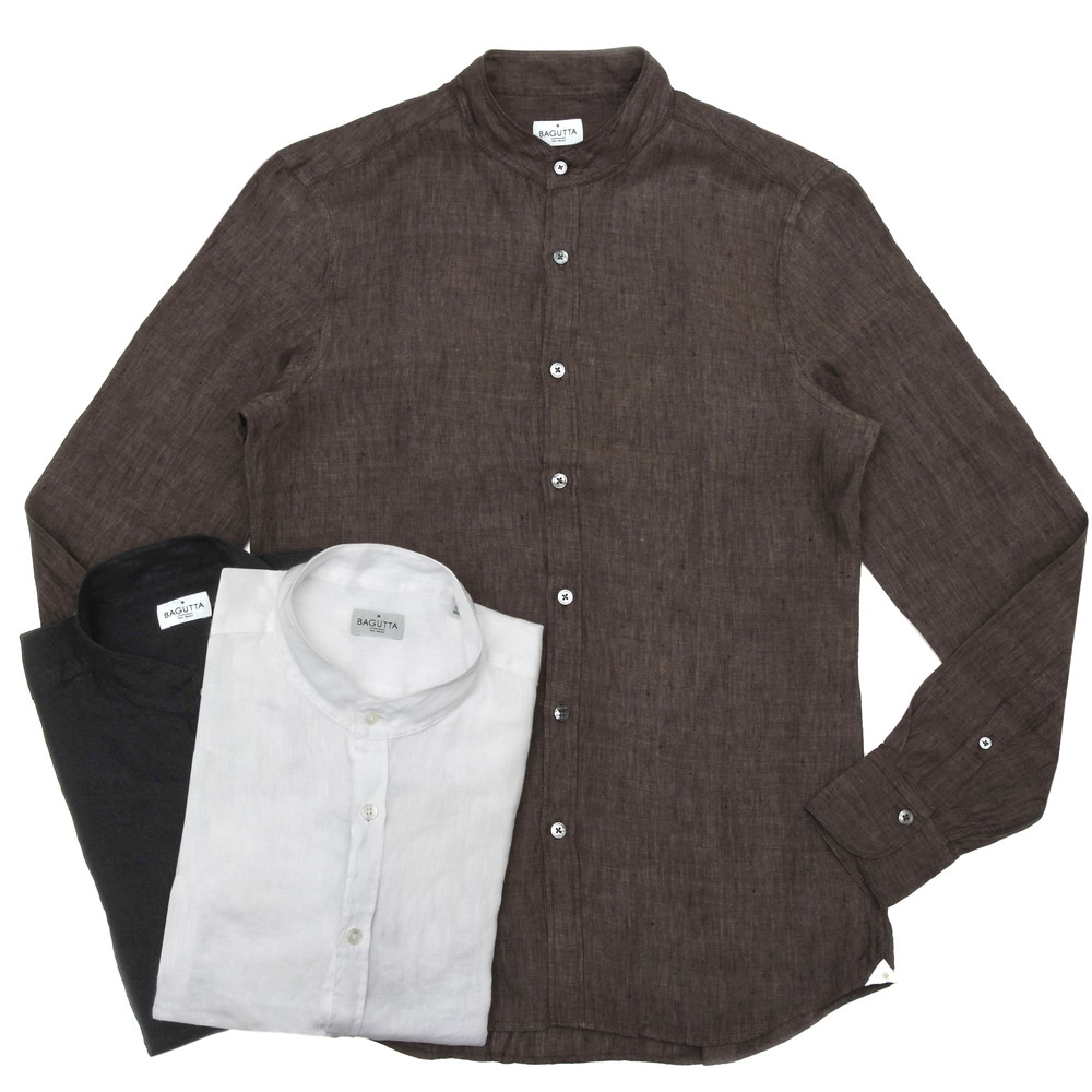 【MORE SALE30】Bagutta(バグッタ)ウォッシュドリネンソリッドバンドカラーシャツ CANNES GL/CN0045 11001003054
