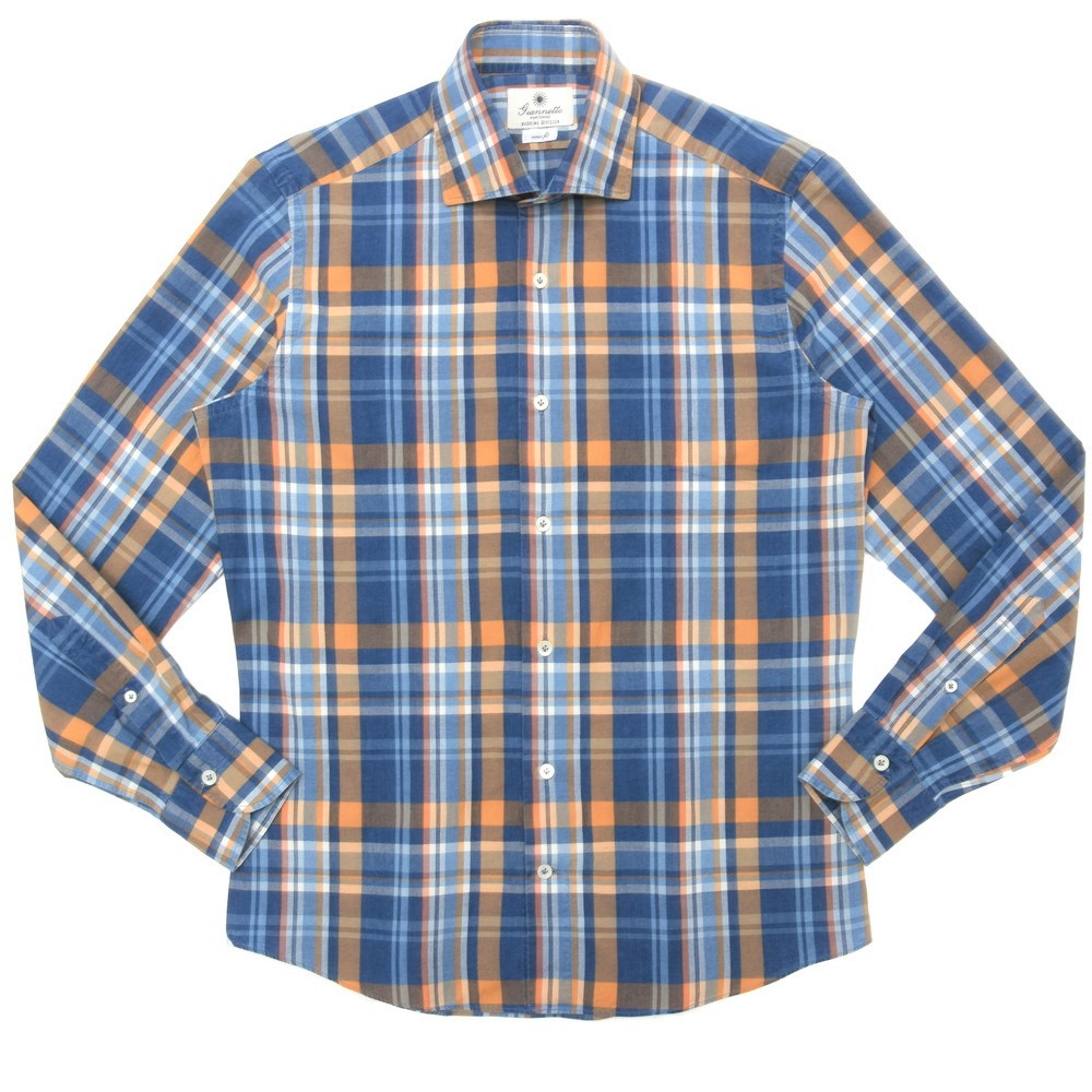 【SALE30】Giannetto(ジャンネット)コットンシャンブレ―マドラスチェックセミワイドカラーシャツ VINCI FIT/384300V81 11005001109