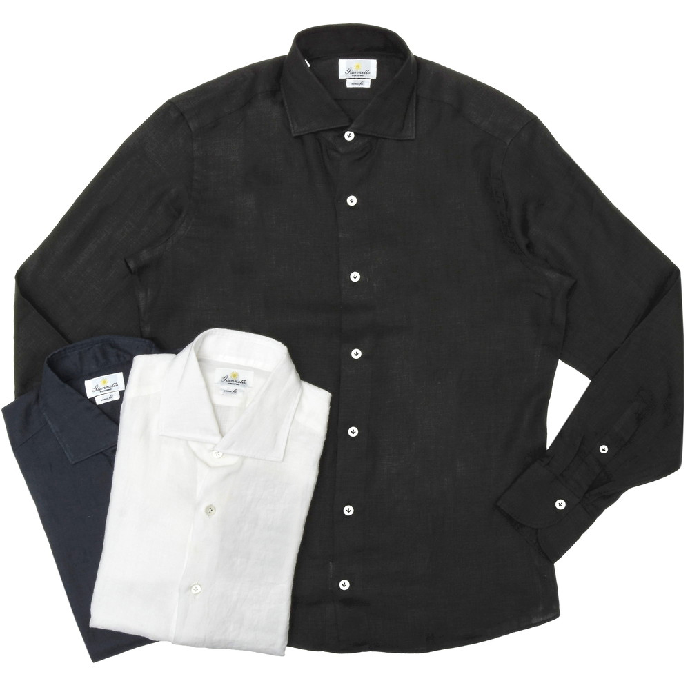 Giannetto(ジャンネット)リネンソリッドセミワイドカラーシャツ VINCI FIT/846300V81 11001005109