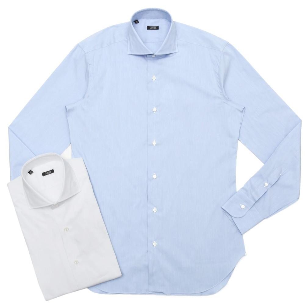BARBA(バルバ)406 コットンナイロンストレッチブロードソリッドワイドカラーシャツ I/406/TONDO/6242 11101205022