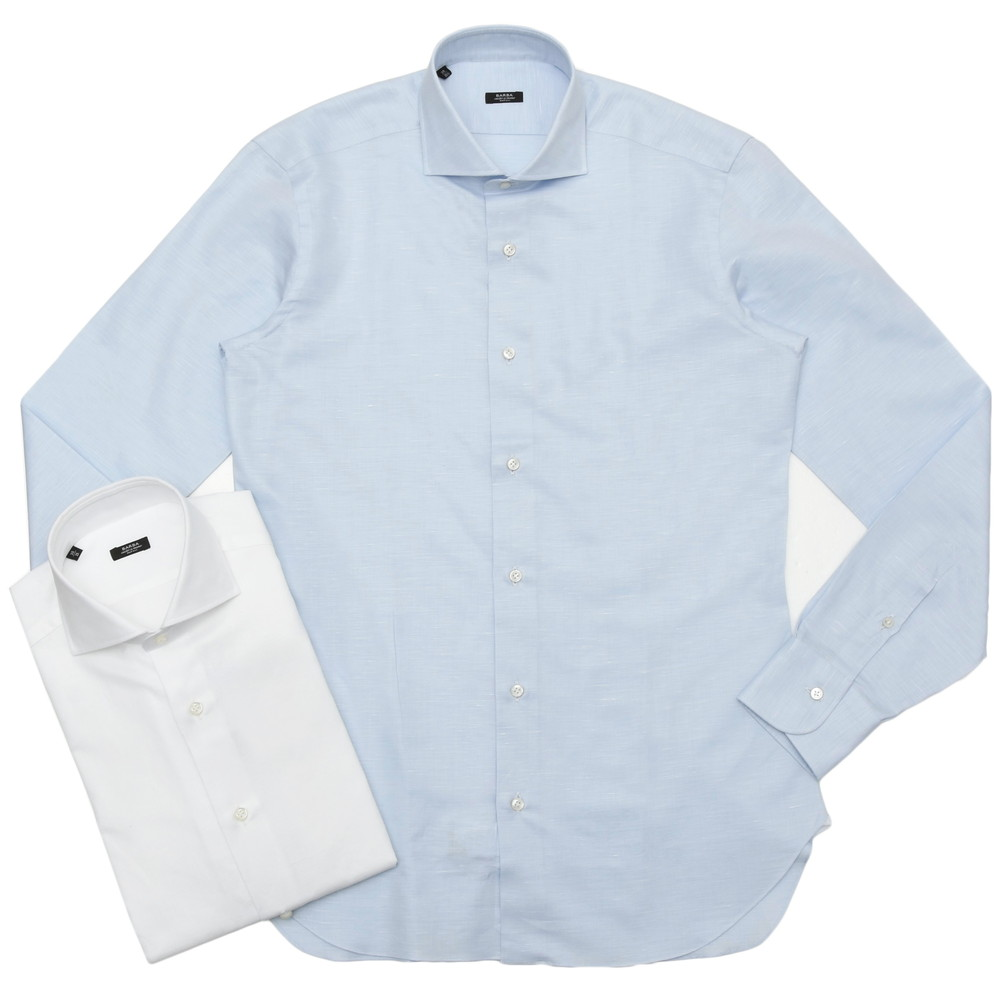 【SALE30】BARBA(バルバ)406 コットンリネンツイルソリッドワイドカラーシャツ I/406/TONDO/6243 11101206022