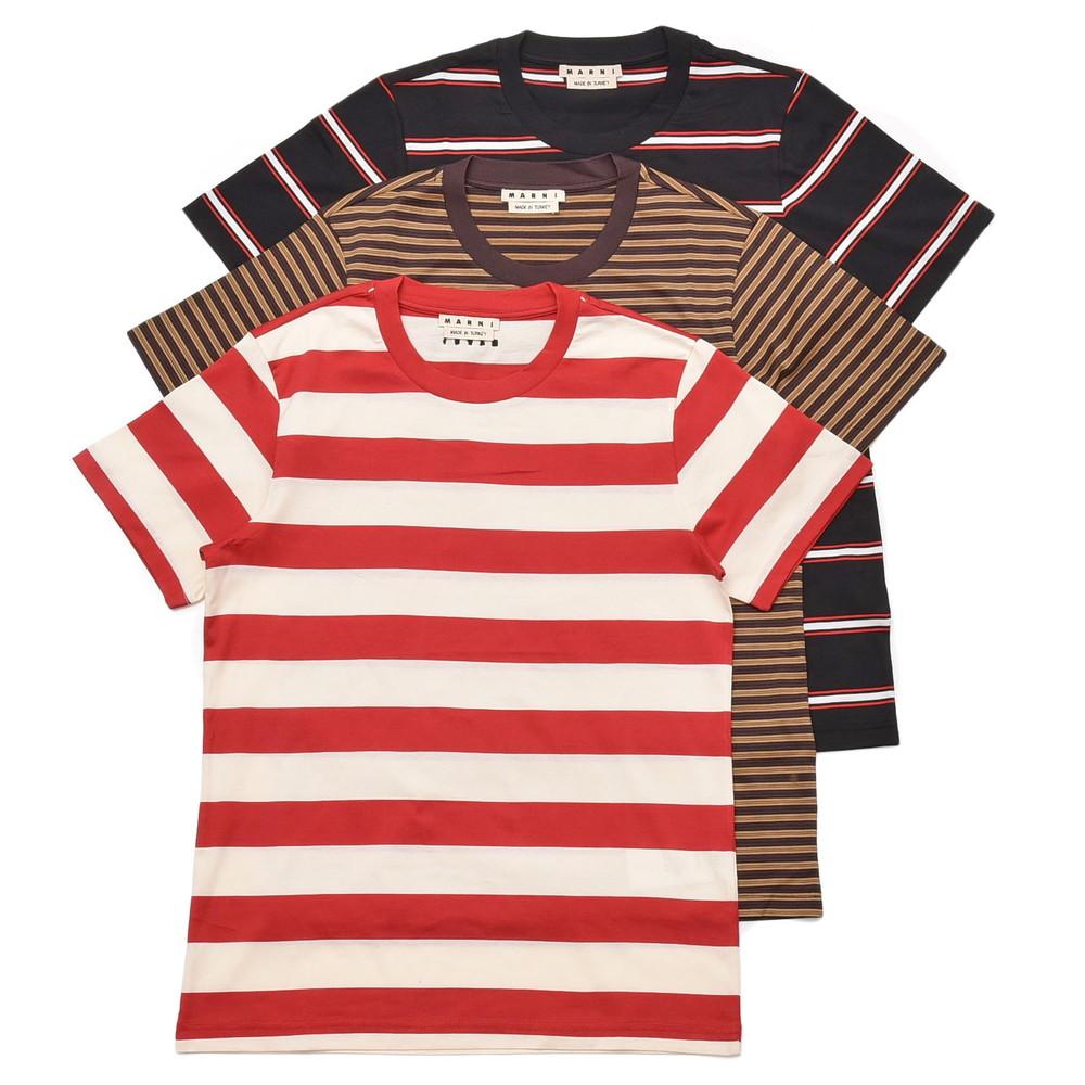 【MORE SALE30】MARNI(マルニ)コットンマルチボーダークルーネックS/Sカットソー 3枚組パックTシャツ HUMU0151S0S23627 12101401138