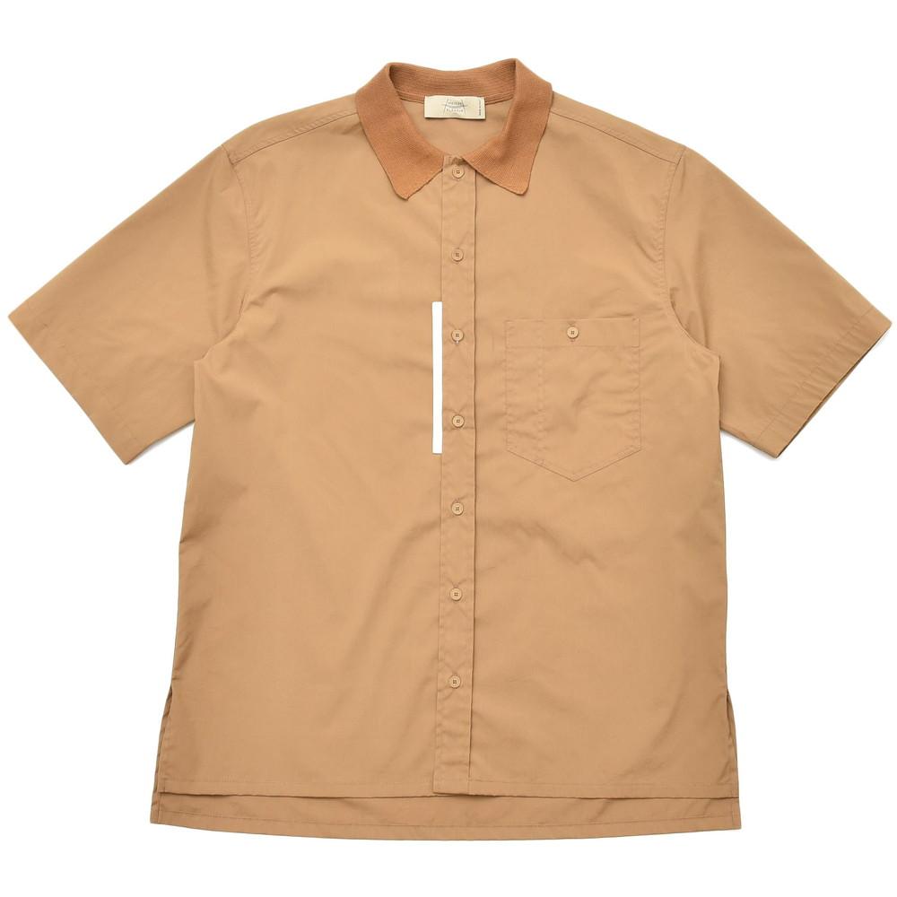 【SALE40】MAISON FLANEUR(メゾン フラネール)コットンポリエスエルポプリンニットカラーS/Sシャツ 7006 11001400043