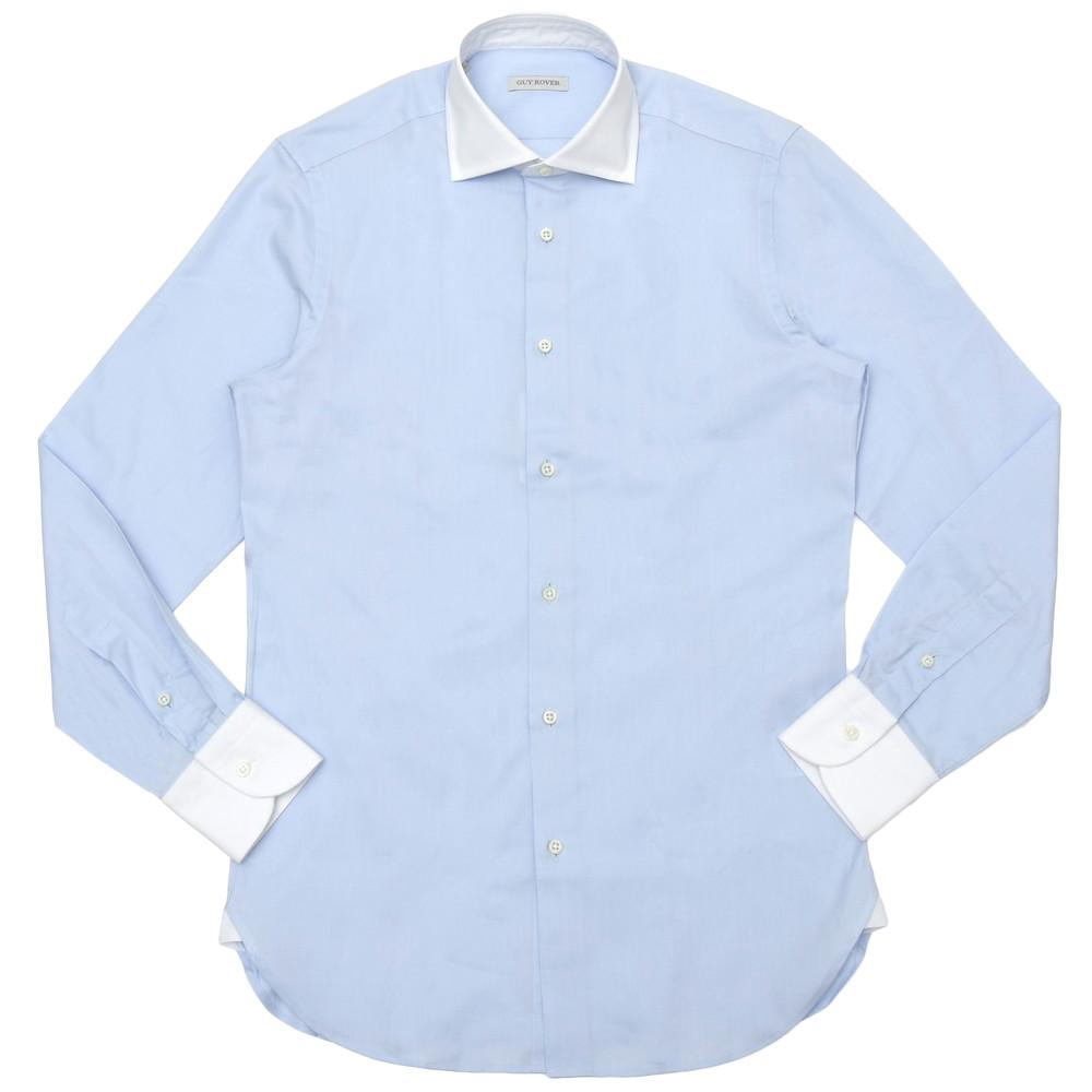 GUY ROVER(ギ ローバー)コットンピンオックスソリッドワイドカラークレリックシャツ W2530/501104 11101203027