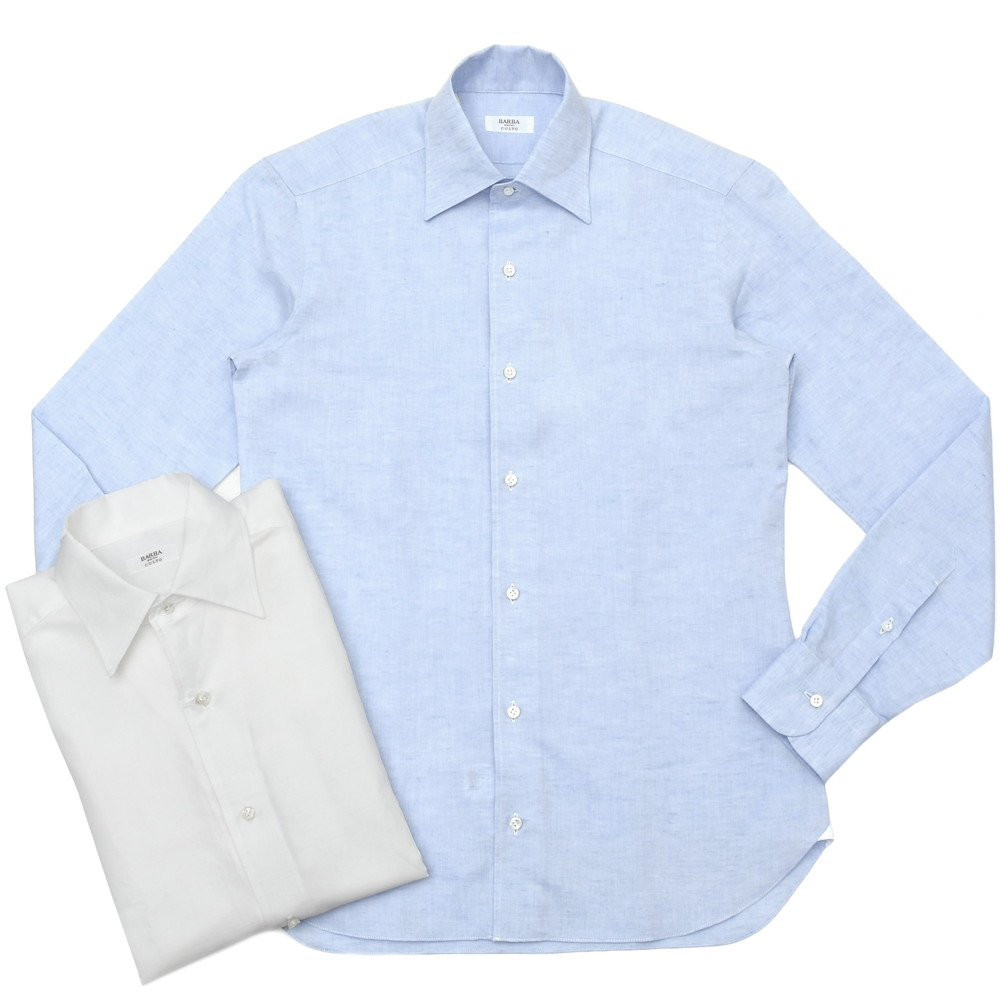 BARBA(バルバ)CULTOクルト コットンリネンソリッドワンピースカラーシャツ I/BSport/6204/U 11101210022