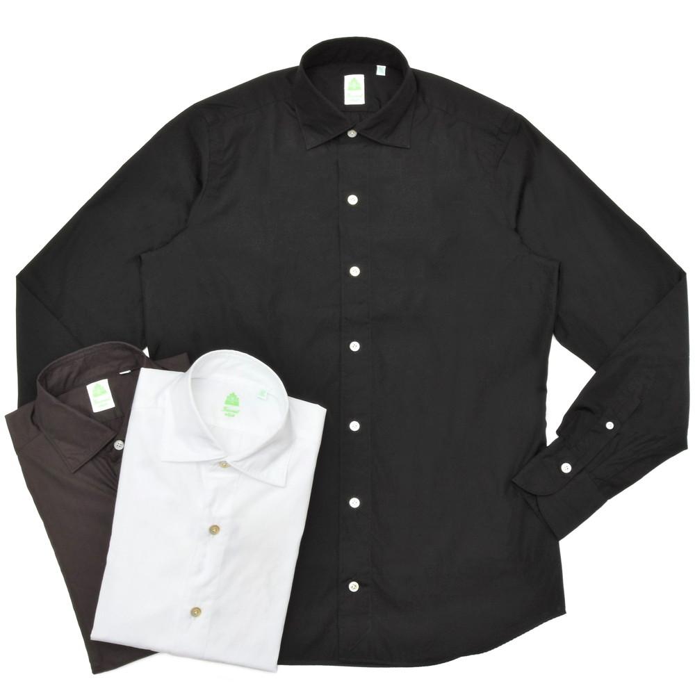 Finamore(フィナモレ)LUIGIルイジ/BALIバーリ ウォッシュドコットンブロードソリッドワイドカラーシャツ C0147 11001000039