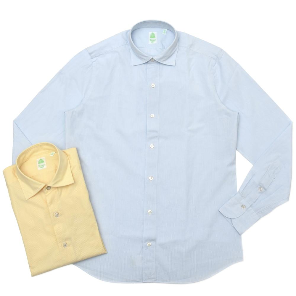 【SALE30】Finamore(フィナモレ)LUIGIルイジ/BALIバーリ ウォッシュドコットンシアサッカーキャンディーストライプワイドカラーシャツ P2030 11001001039