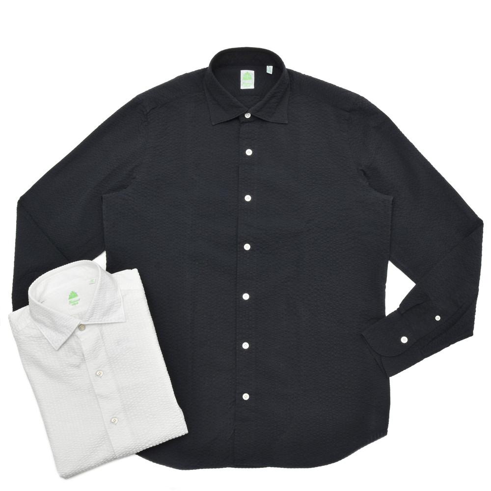【MORE SALE30】Finamore(フィナモレ)LUIGIルイジ/BALIバーリ ウォッシュドコットンシアサッカーソリッドワイドカラーシャツ P2275 11001005039