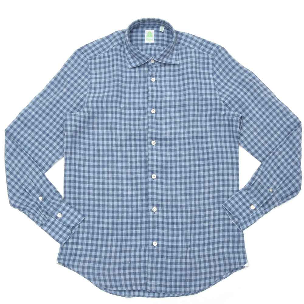 Finamore(フィナモレ)LUIGIルイジ/BALIバーリ ウォッシュドリネンギンガムチェックワイドカラーシャツ P2257 11001007039
