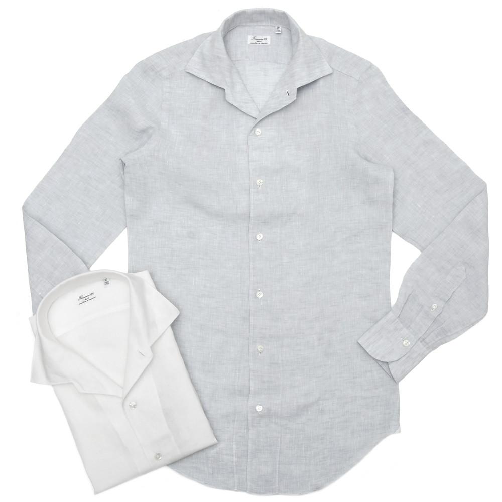 【SALE30】Finamore(フィナモレ)ELBAエルバ/CAPRIカプリ リネンソリッドワンピースカラーシャツ P2050 11101200039