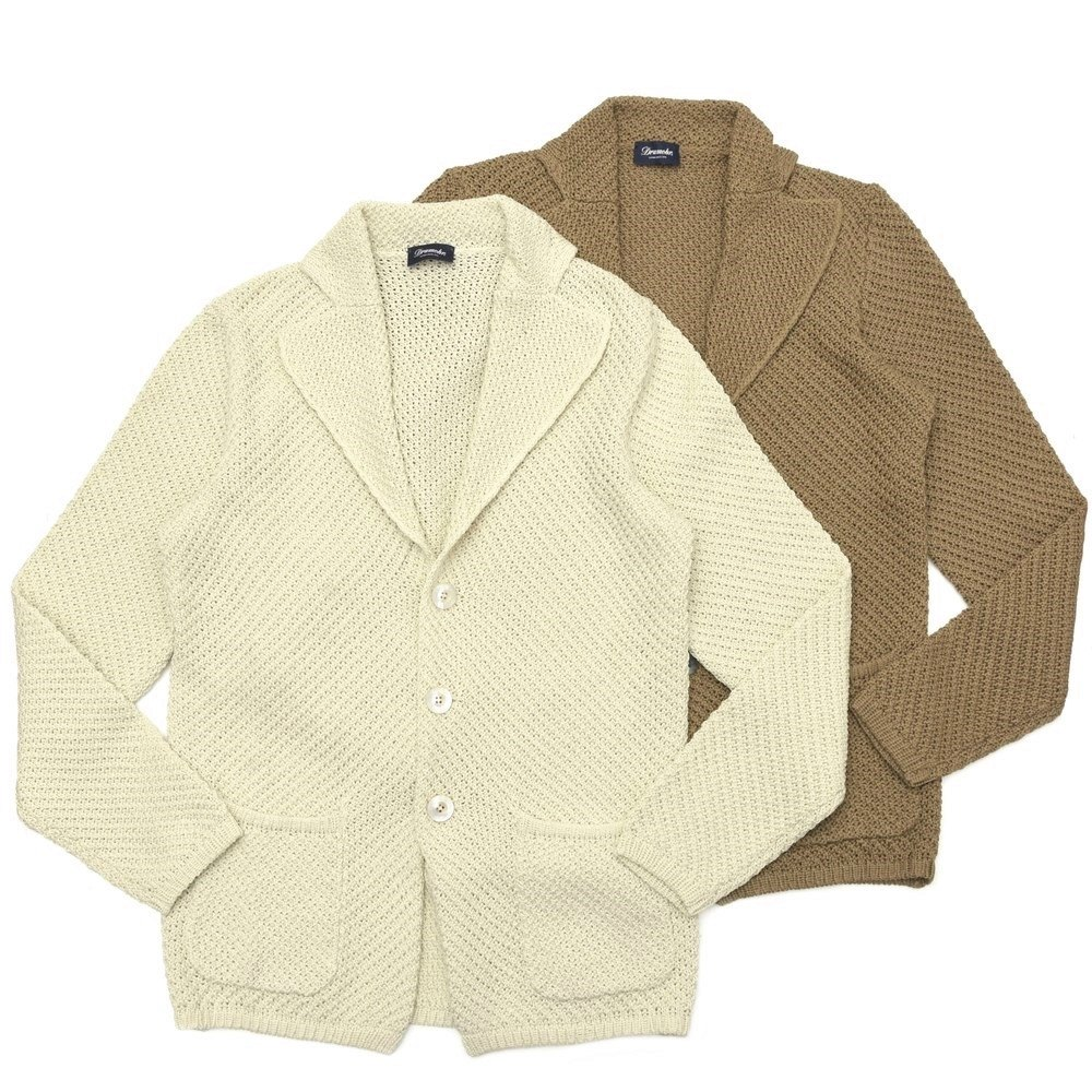 【SALE30】Drumohr(ドゥルモア)ローゲージコットンソリッドニットジャケット D5CB412 16001005027