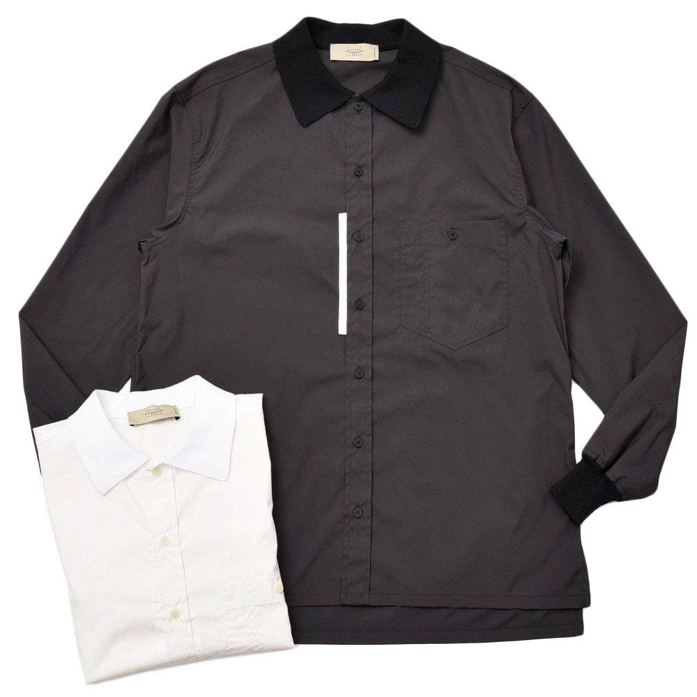 MAISON FLANEUR(メゾン フラネール)コットンポリエスエルポプリンニットカラーシャツ 7004 11005400043