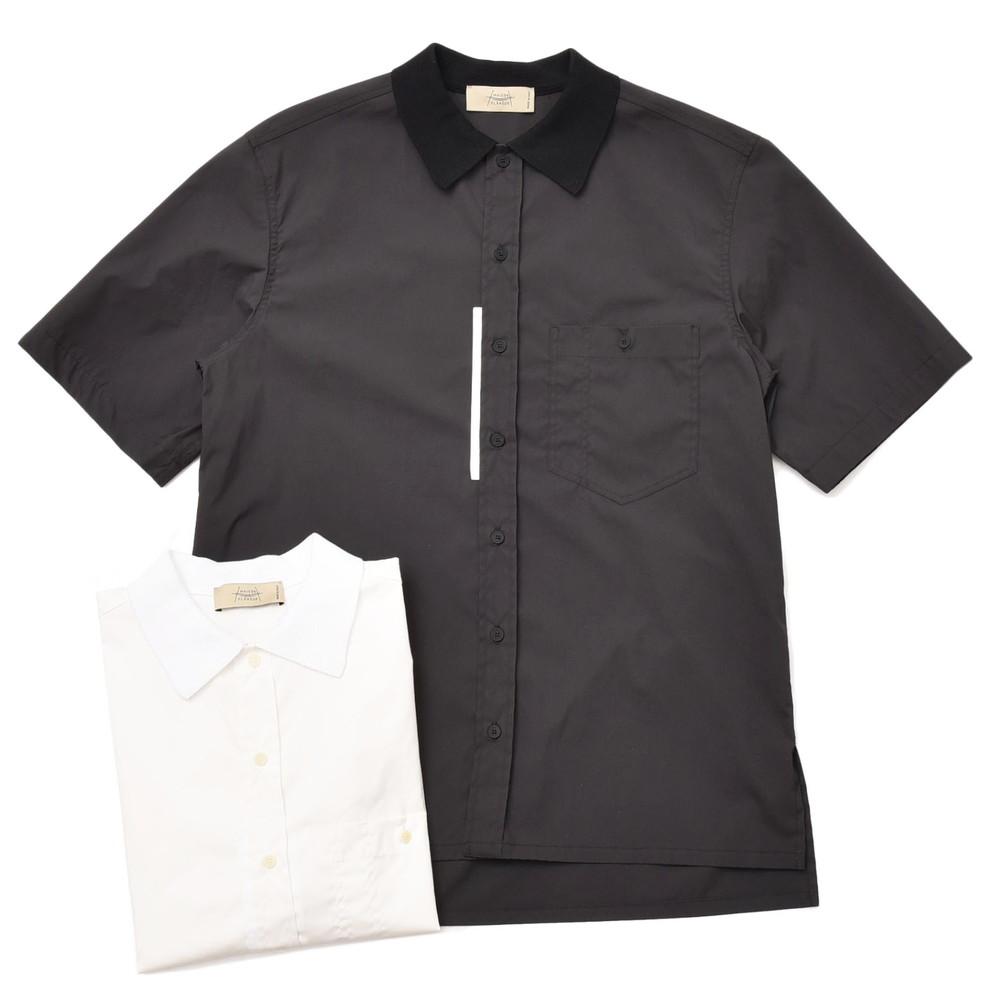 MAISON FLANEUR(メゾン フラネール)コットンポリエスエルポプリンニットカラーS/Sシャツ 7006 11005401043