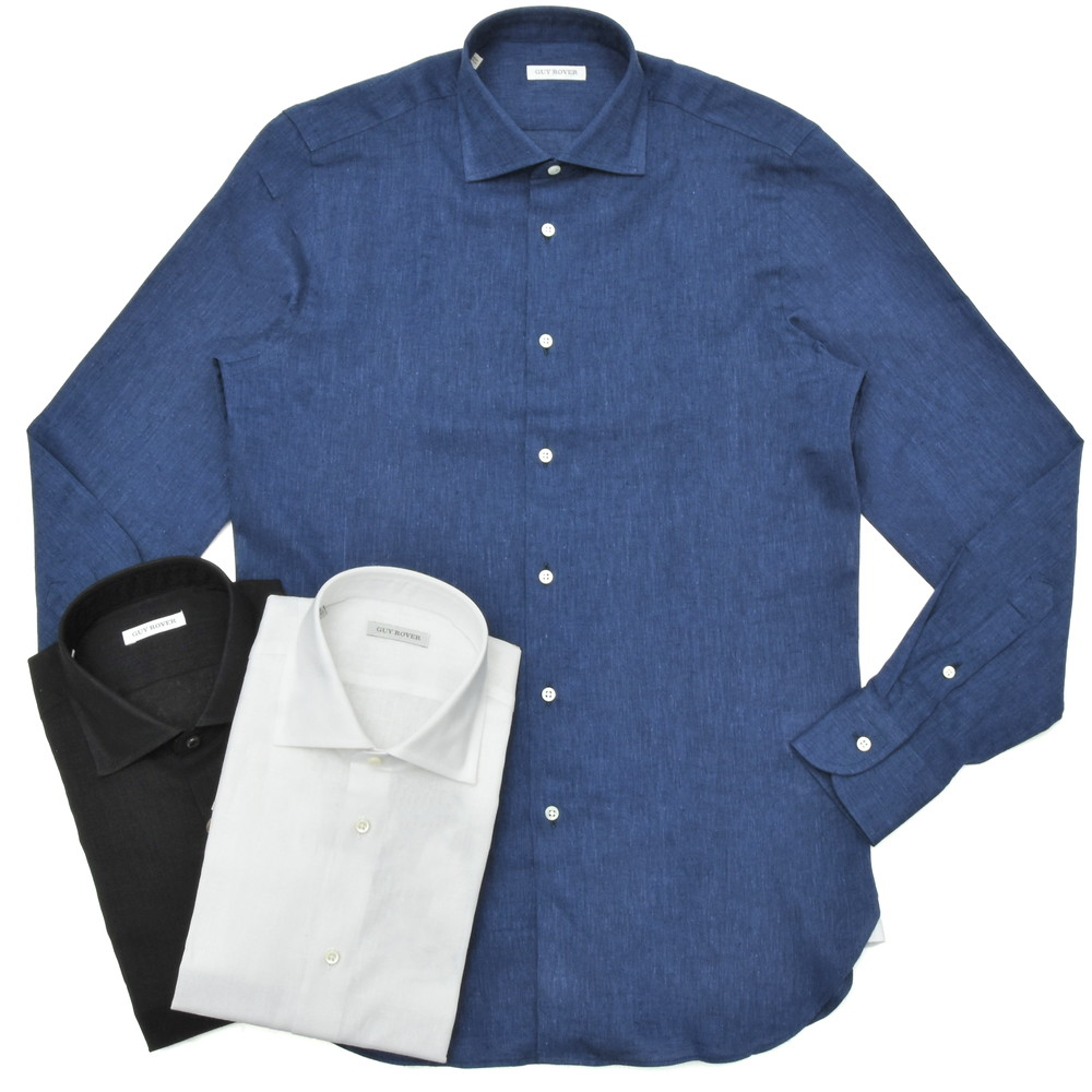 【SALE30】GUY ROVER(ギ ローバー)リネンコットンソリッドワイドカラーシャツ W2530/501301 11101204027