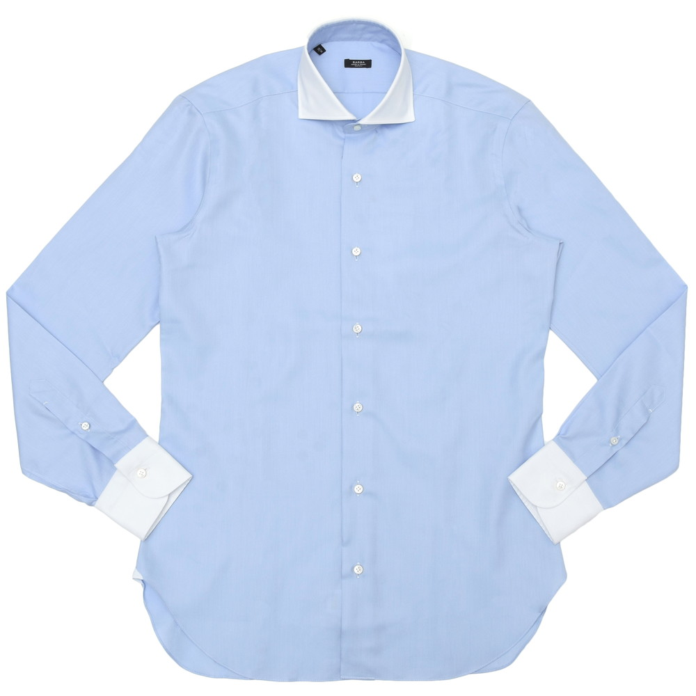【SALE30】BARBA(バルバ)406 コットンロイヤルオックスソリッドワイドカラーシャツ I/406/TONDO/6202 11101211022