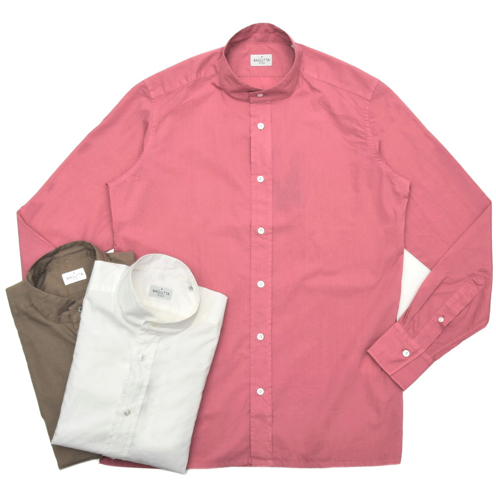 【MORE SALE30】Bagutta(バグッタ)ウォッシュドコットンポプリンソリッドバンドカラーシャツ MYKONOS GBLT/10297 11001006054