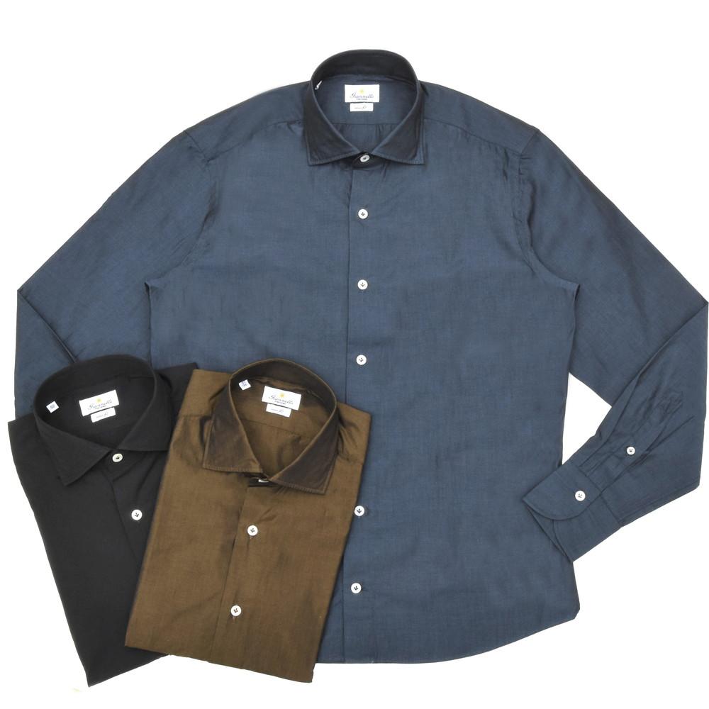 Giannetto(ジャンネット)コットンシャンブレーソリッドセミワイドカラーシャツ VINCI FIT/108300V81 11001006109