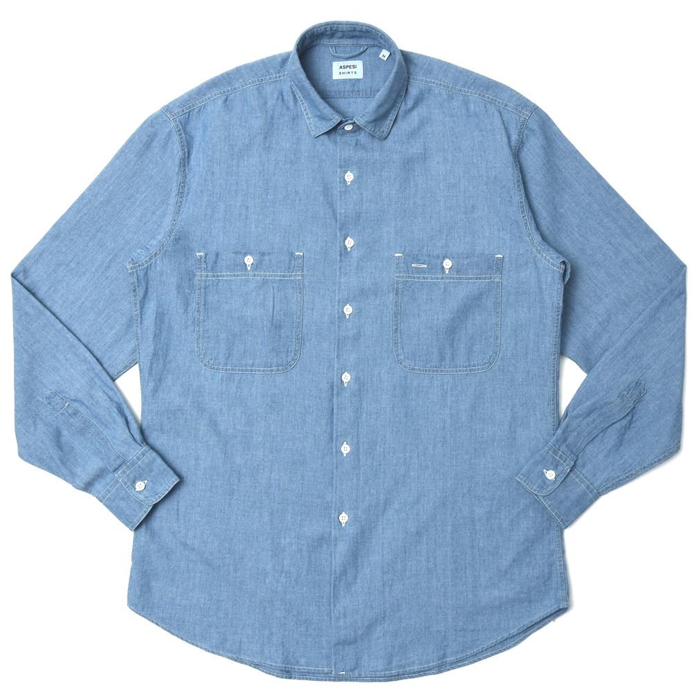 【SALE30】ASPESI(アスペジ)ウォッシュドコットンシャンブレーレギュラーカラーワークシャツ A4311E542 11005003109
